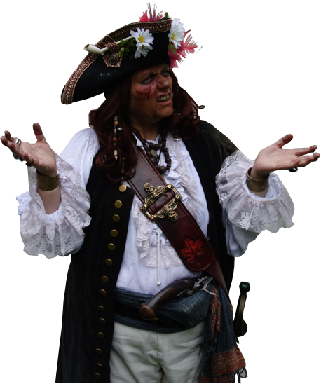 Woman pirate in WTF pose.