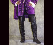Lower half of a man wearing a purple Rennaissance coat and black boots.