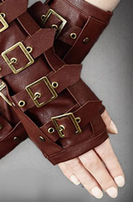 Brown buckled steampunk hand warmers